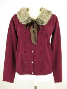 knit cardigan with fur