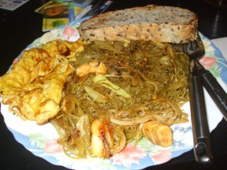 home made chow mein with omlette