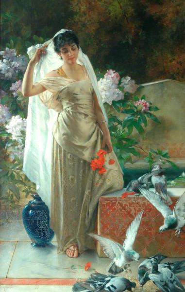 Конрад Кисель. Девушка с голубями.