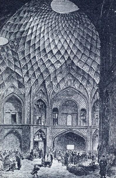 Кашанский базар (XIX в.). Персидские архитекторы использовали подобные конструкции для того, чтобы естественным образом снижать температуру в помещении, регулировать солнечный свет и для вентиляции внутренних помещений в дневное время