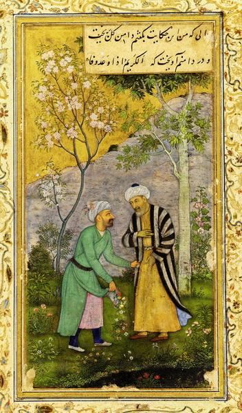 Саади в Розовом саду, илл. из могольского манускрипта <Гулистана>, ок. 1645 г.