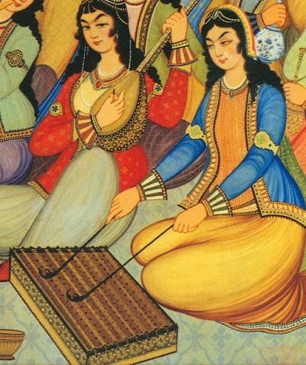 Девушка, играющая на сантуре (роспись во дворце Хашт-Бехешт в Исфахане (Иран), 1669 г.)