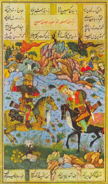 Битва Рустама и Эсфандийра - двух героев Шах-наме