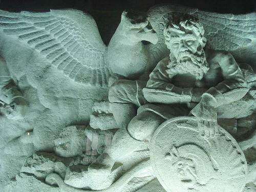 Симорг - мифическая птица из Шах-наме, в музее мавзолея Фирдоуси в Тусе