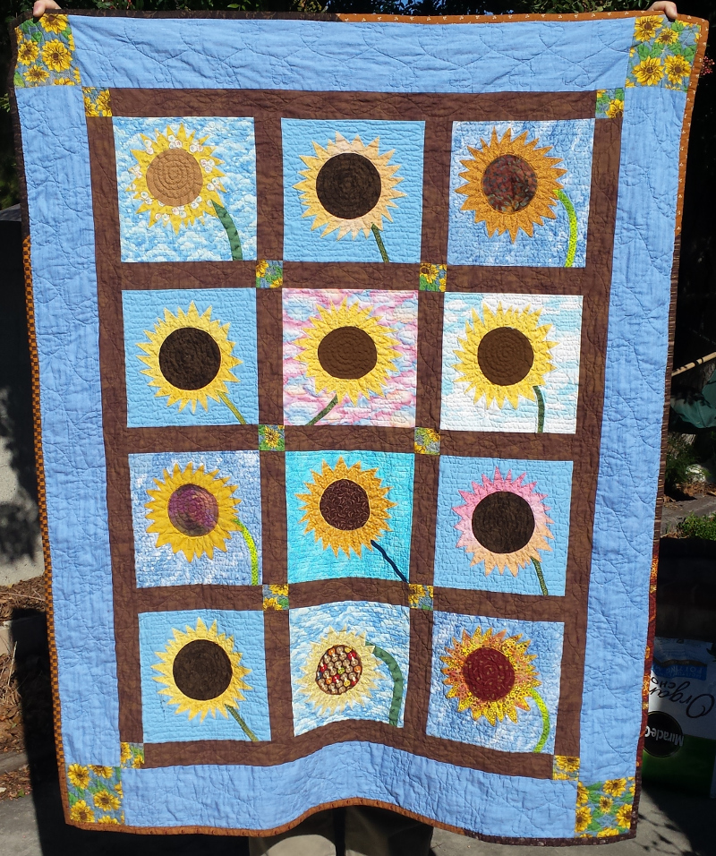 Sunflowers quilt.  Made in September 2016 for my older son on the birth of his brother.  Blocks won from the Orange County Quilters Guild in May 2016. Cornerstone sunflower fabric inherited from my grandmother....