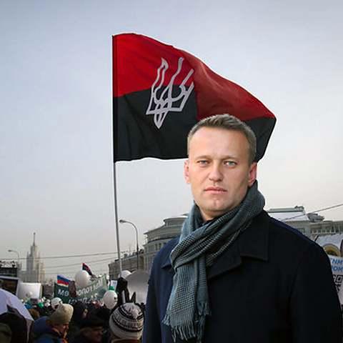 навальный с русским флагом