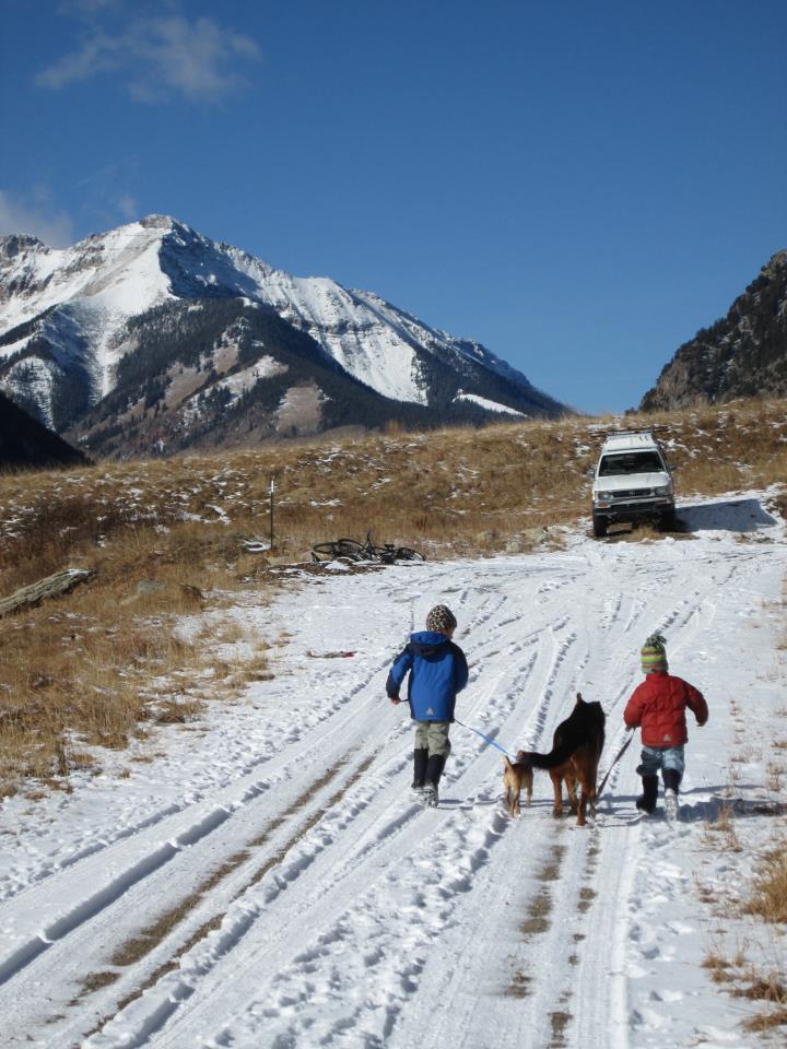 tiberius & jager in snow