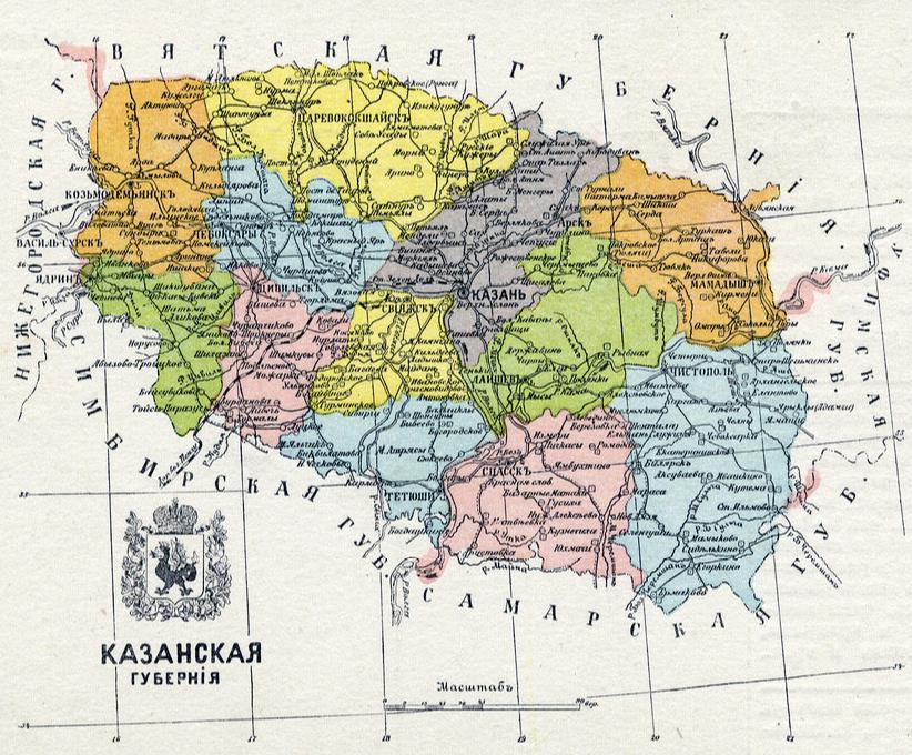 Карта уездов 1913 года для наглядной иллюстрации