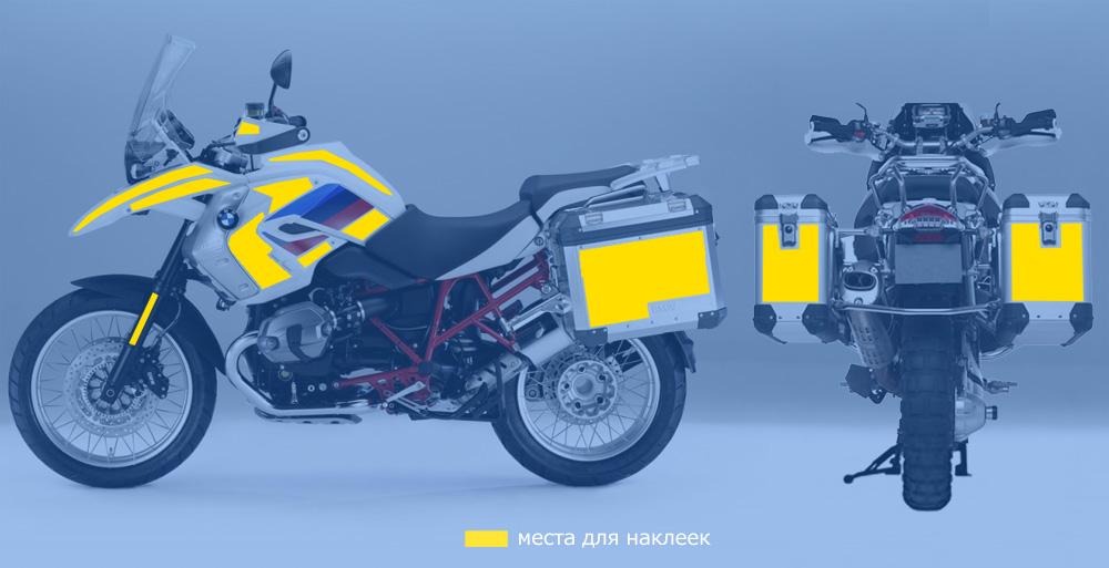 Места для наклеек на мотоцикле