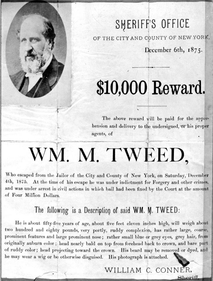 Boss Tweed Wanted Poster