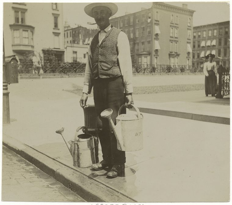 Man with watering cans. (1896)