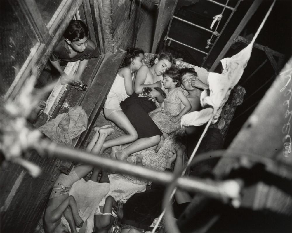 Weegee - Children on Fire Escape, 1938