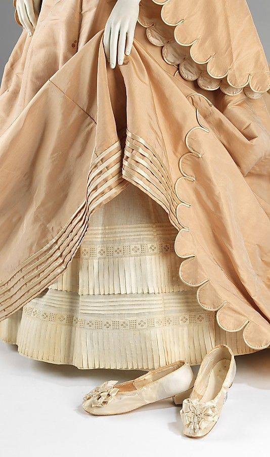 wedding ensemble by courvoisier american 1870 -- silk dress petticoat and shoes with leather gloves