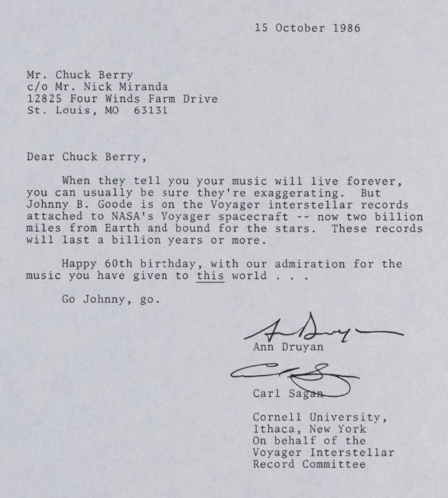 letter to chuck berry from carl sagan 1986