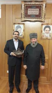 Посол ИРИ в РФ д-р Мехди Санаи и муфтий Ставропольского края Мухаммад-хаджи Рахимов