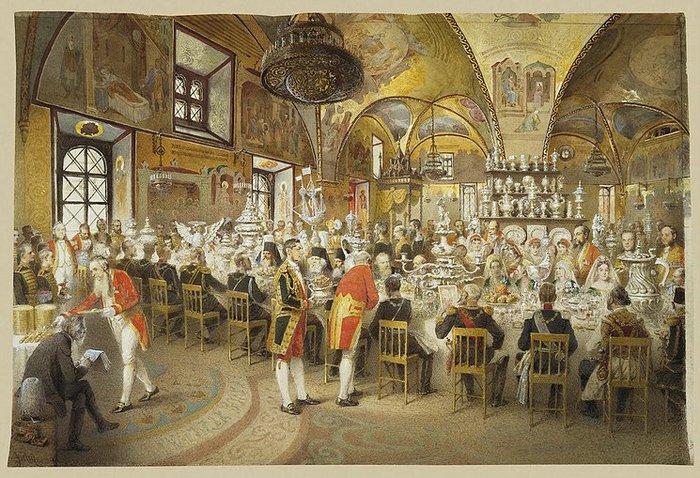 50609079_Vilgelm обед в Грановитой палате в честь Вильгельма 1, 1873 год. Художник: Зичи.