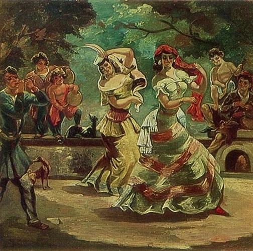 Танец на террасе. 1950 г.
