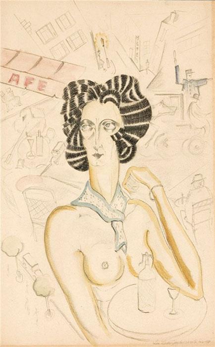 Портрет Иды Рубинштейн на террасе в кафе 1921.