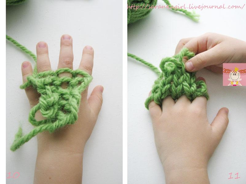 Примеры вязания на пальцах без использования спиц 34