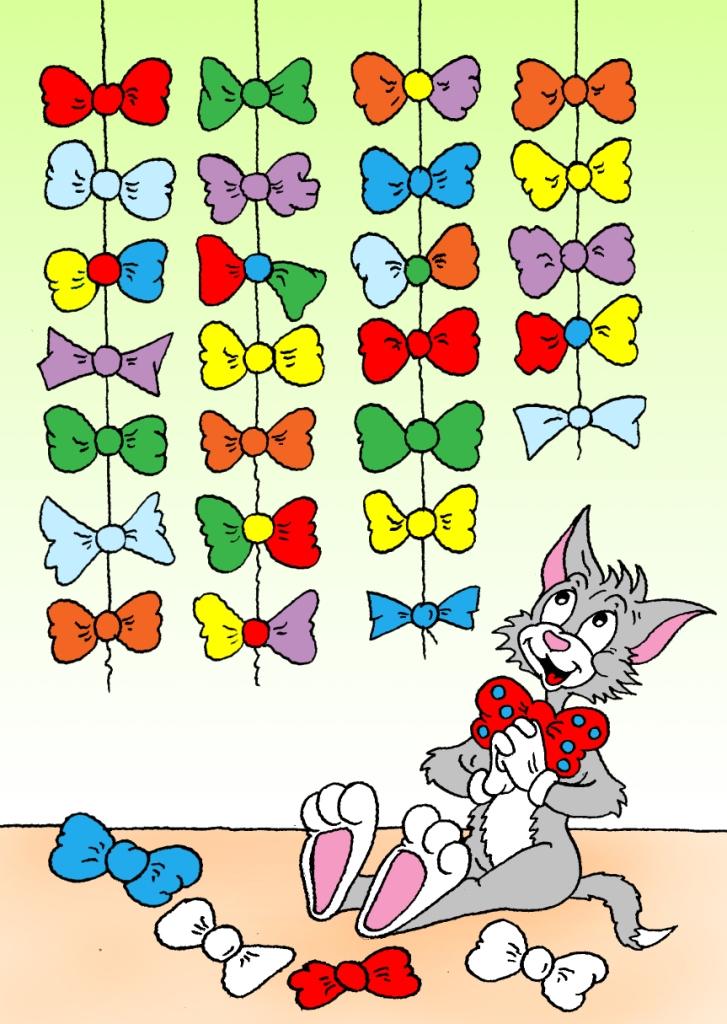 Кошачья радуга найдите два одинаковых бантика