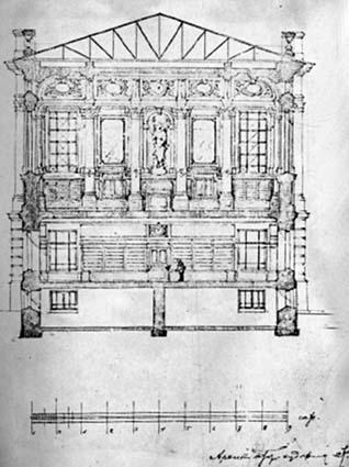 Проект здания библиотеки СГУ, выполненный архитектором К. Л. Мюфке в 1914 году