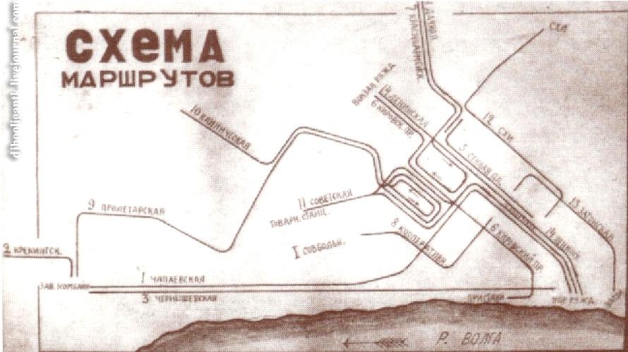 Схема маршрутов, 1935 год 2