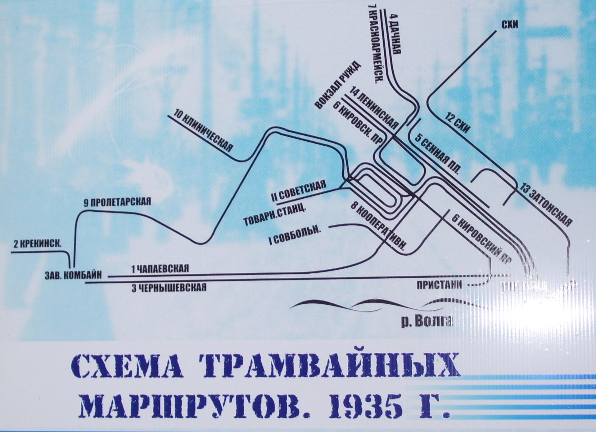 Схема маршрутов, 1935 год