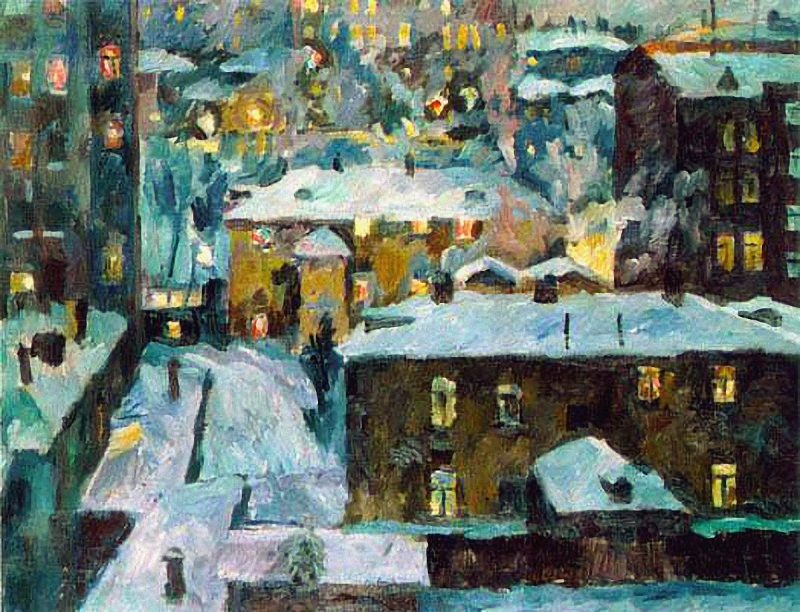 Лентулов Аристарх. Ночь на Патриарших прудах.  1928