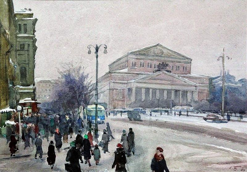Соломон Самсонович Боим 1960 Московская зима. Большой театр, 1960 г.