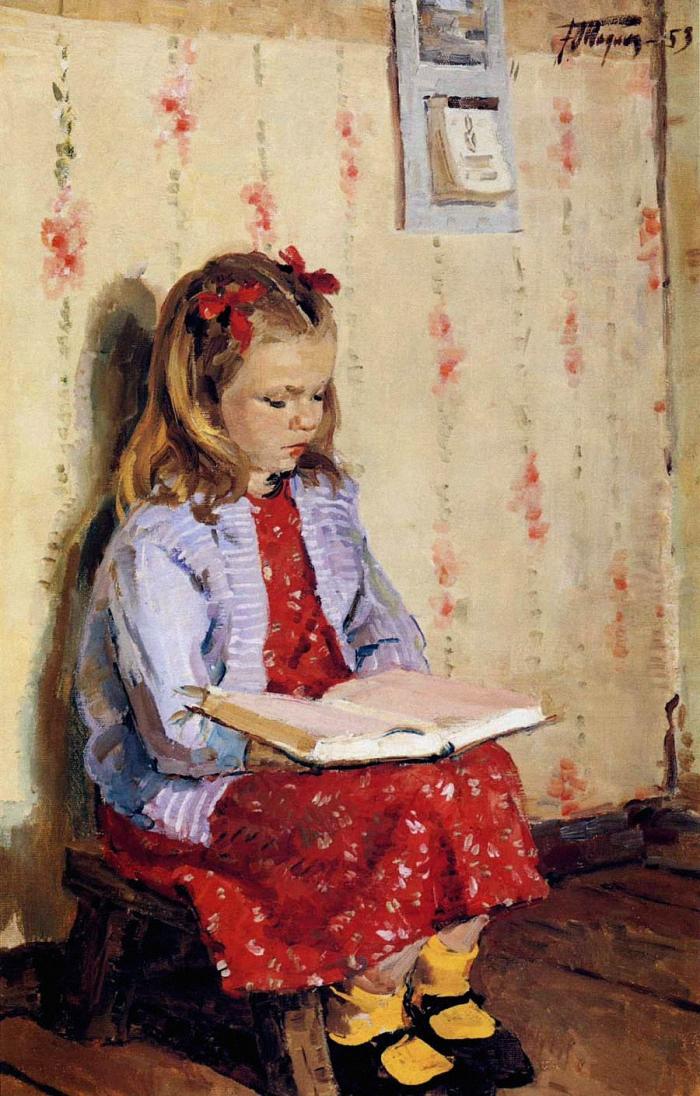 Yuri Podlyaski - Portrait of Masha Surtukova Reading