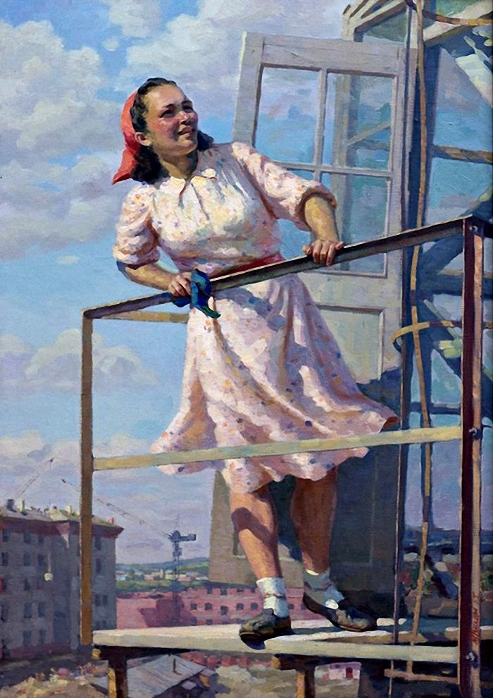 Григорьев-Савушкин-Павел-Григорьевич-Россия-1918-1990-«Крановщица»-1955