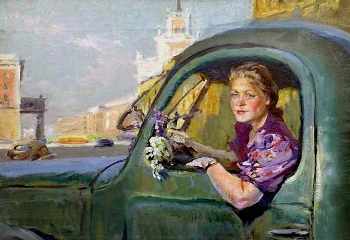 Поляков Валентин Иванович (Россия, 1915 - 1977) «Женщина за рулем»