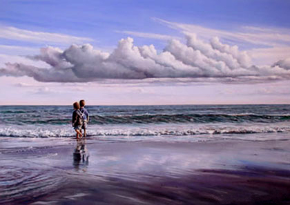 Kenevan-pastel-sea-scape-painting-In-their-own-world