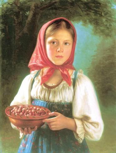 vasili-timofeyev-a-young-girl-with-berries-1879