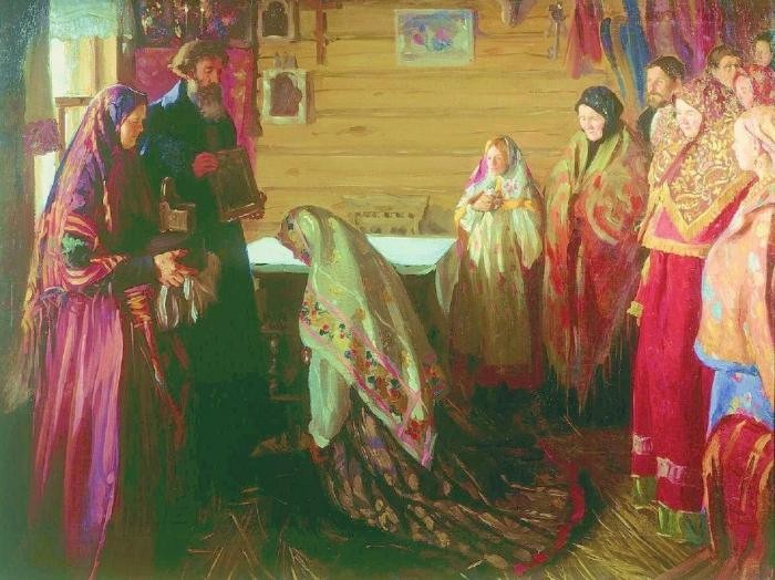 ivan-kulikov-the-assembled-elders-bless-a-bride-in-the-town-of-murom-1909