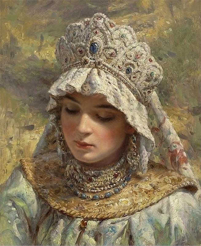 Russian Beauty in a Head-Dress, by Konstantin Makovsky