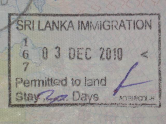 Виза (штампик) на первые 30 дней в Шри Ланке