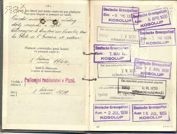 Паспорт Чехии 1939