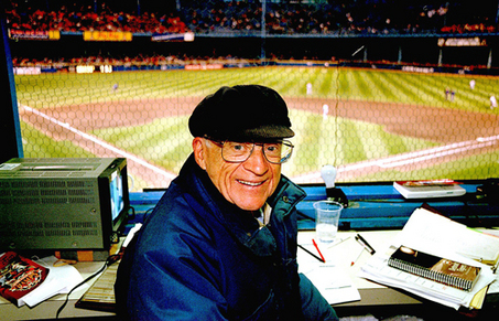 Ernie Harwell, at the old Tiger Stadium, in Detroit, Michigan.