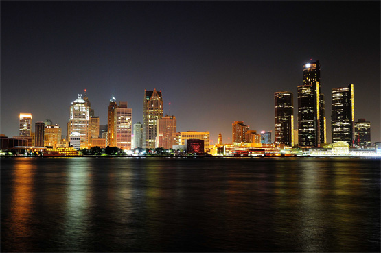 Downtown Detroit skyline, at night.