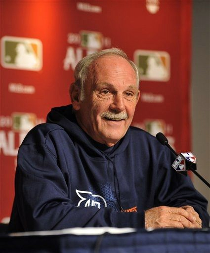 Jim Leyland talks to press before Game 5.