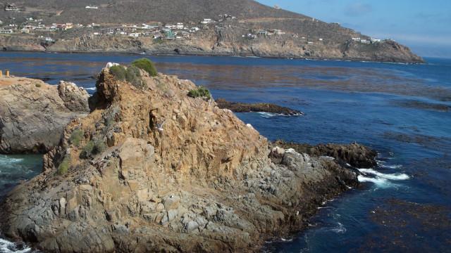 Craggy coastline view from La Bufadora, Mexico