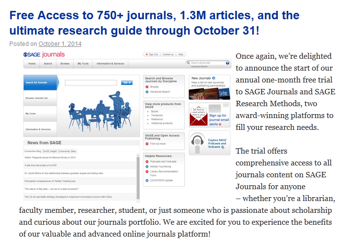 2014-10-05 02-36-06 Free Access to 750+ journals, 1.3M articles, and the ultimate research guide through October 31!   SAGE
