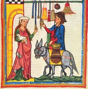 1300-1340 GERMAN Codex Manesse, 64r Herr Dietmar von Ast (cropped)