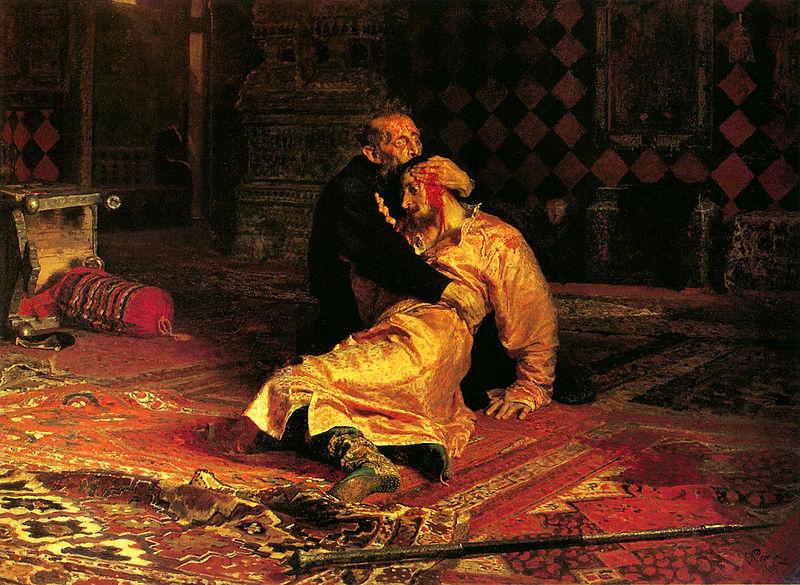 Ilja Repin. Ivan Groznyi i syn ego Ivan 16 nojabrja 1581 goda 1885