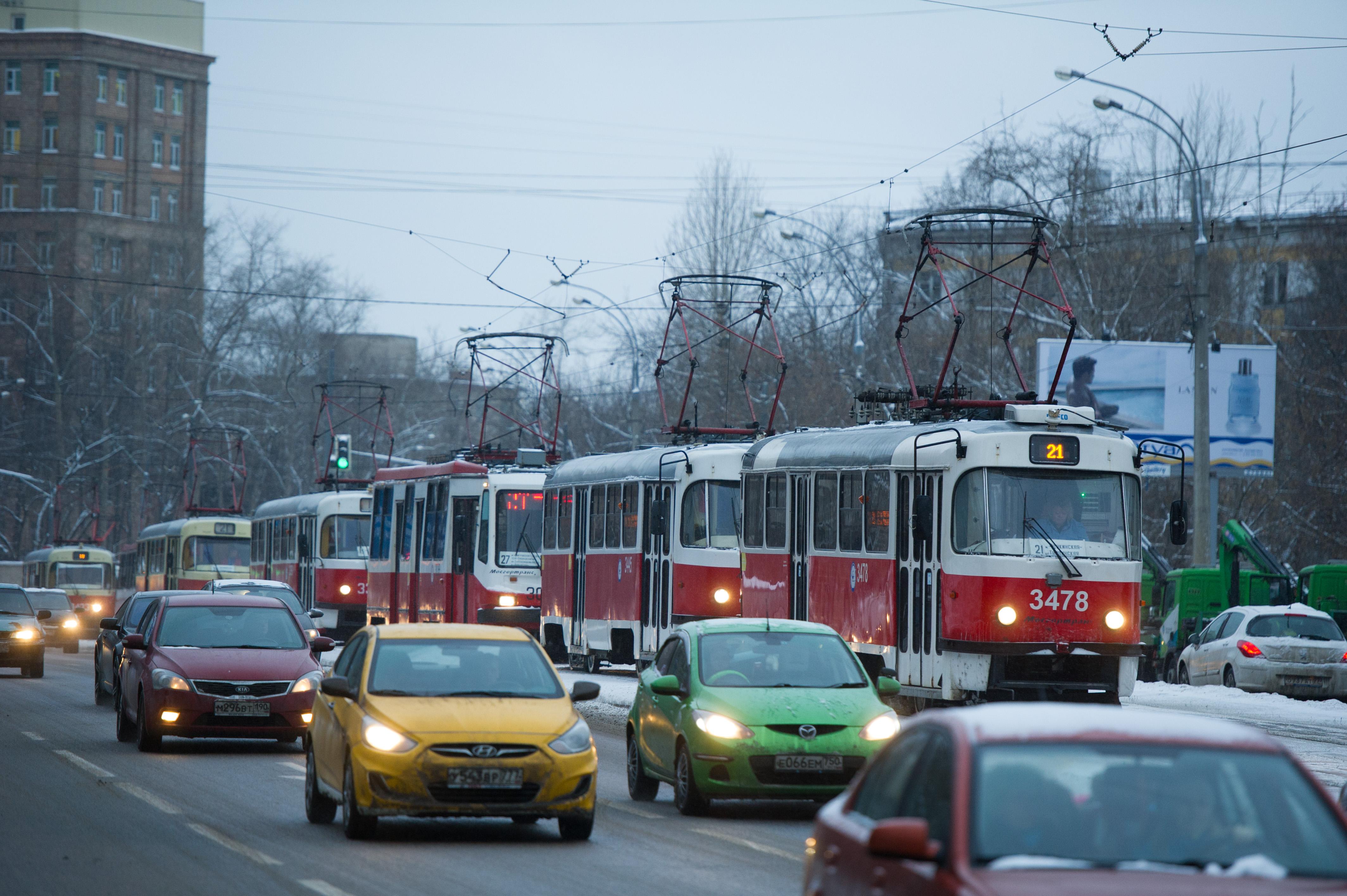 Трамвайная пробка в Щукино BEL_1460
