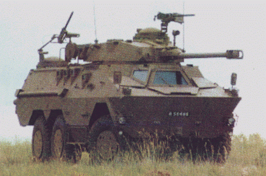 Ratel-90 armoured car in action with the South African Army.Date1980sSourceSADF Ratel-90 Fire Support VehicleAuthorOmutumua Oshili from South Africa