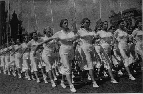 Москва. Колонна спортсменов. 1937. Фото И. Шагина.