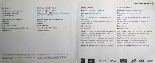 Air France Economy Class Menu YYZ-CDG