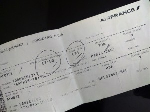 AF0351, AY0872 Air France Toronto-Paris-Helsinki Boarding Pass